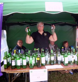 Lion Carol on the bottle stall