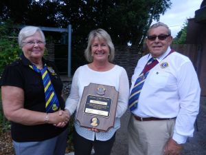 M.J.F. Award being presented to C.E.O.Force cancer charity,Meriel Fishwick